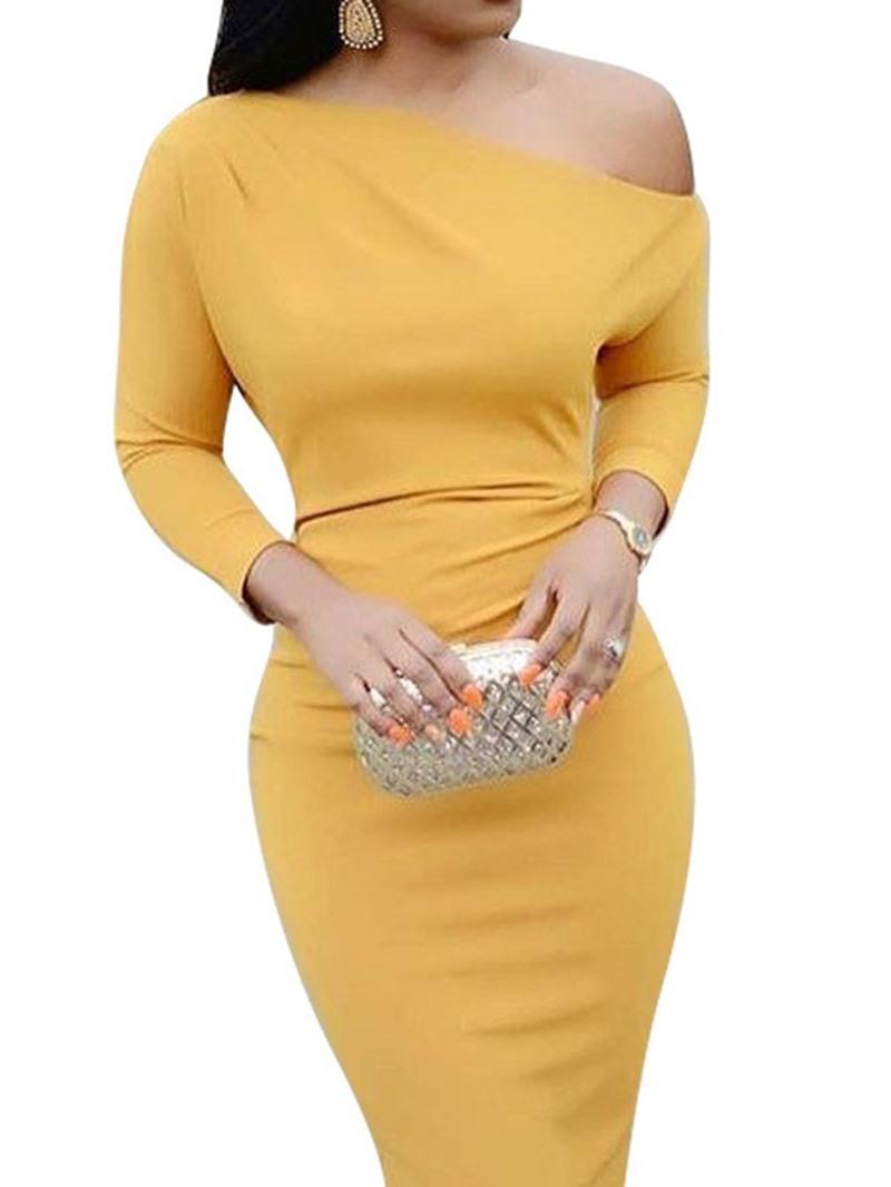 Ericdress Three-Quarter Sleeve Oblique Collar Knee-Length Plain Pullover Dress