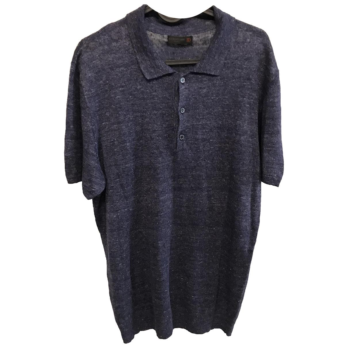 Corneliani - Polos   pour homme en lin - bleu