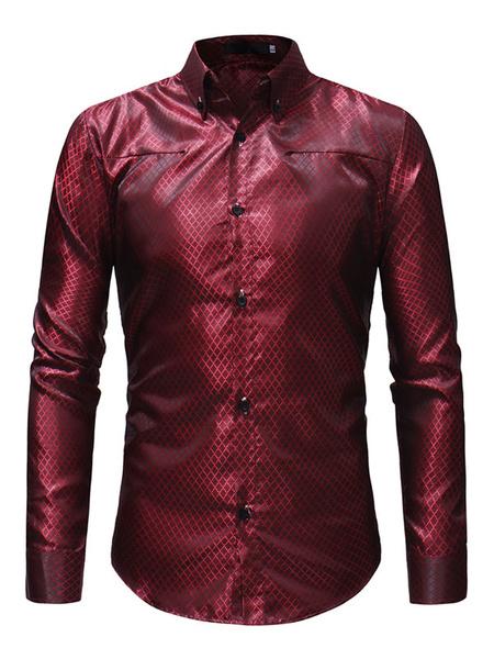 Milanoo Men Formal Shirt Jacquard Patterned Long Sleeve Dress Shirt