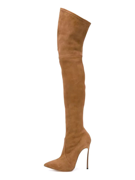 Milanoo Over The Knee Boots Micro Suede Upper Coffee Brown Pointed Toe Stiletto Heel Thigh High Boots