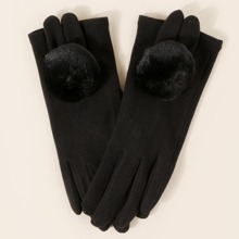 Touchscreen-Handschuhe mit Pompon Dekor