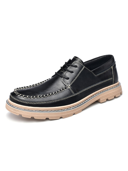 Milanoo Zapatos de vestir para hombres Correa de punta redonda Zapatos de hombre de cuero de PU ajustable Zapatos de fiesta