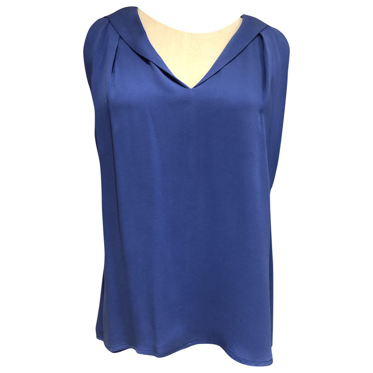 Max Mara - Top   pour femme en soie - bleu