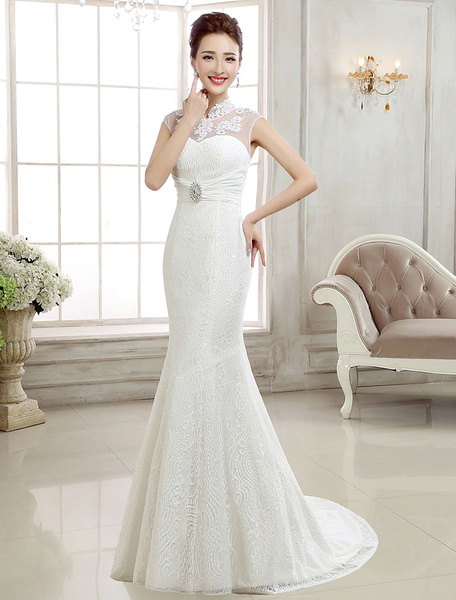 Milanoo Vestido de novia de sirena con pedreria Con cola cintura natural con escote alto De banda de encaje sin mangas de silueta sirena