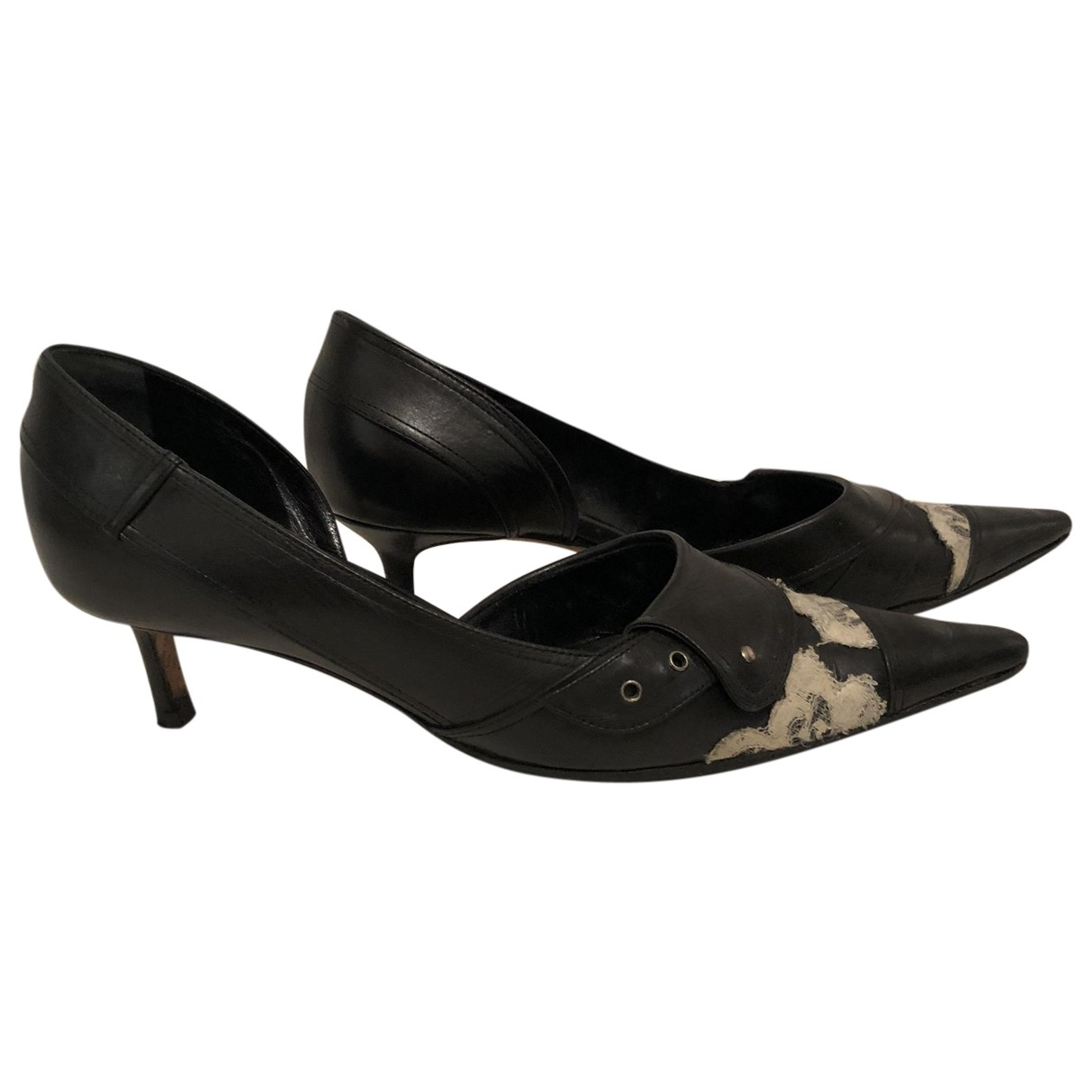 John Galliano \N Black Leather Heels for Women 39 EU