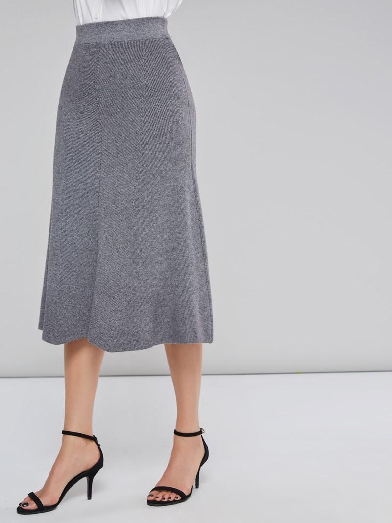 Ericdress Plain Thread Patchwork A-Line Skirt
