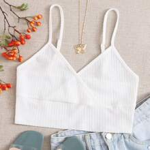 Strick Crop Cami Top mit V-Kragen