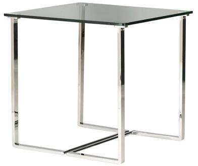 20803-02 Edwin Square End Table With Glass Top on Chrome Plated
