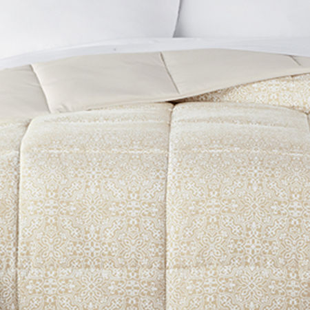 Home Expressions Classic Plus Down Alternative Reversible Comforter with Scotchgard, One Size , Beige