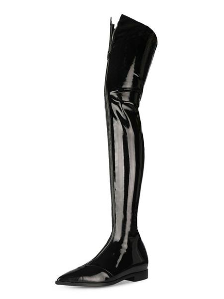 Milanoo Botas sobre la rodilla Negro punta estrecha cremallera frontal hasta botas de invierno de las mujeres de alta del muslo botas