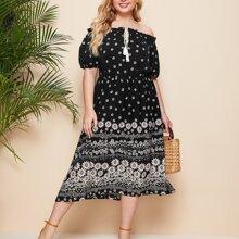 Schulterfreies A-Linie Kleid mit Bluemchen Muster und Band vorn
