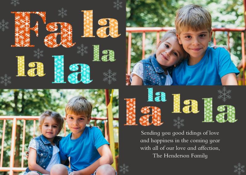 Christmas Photo Cards 5x7 Cards, Premium Cardstock 120lb, Card & Stationery -Fa La La La La