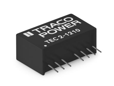 TRACOPOWER TEC 2 2W Isolated DC-DC Converter Through Hole, Voltage in 4.5 → 13.2 V dc, Voltage out 3.3V dc