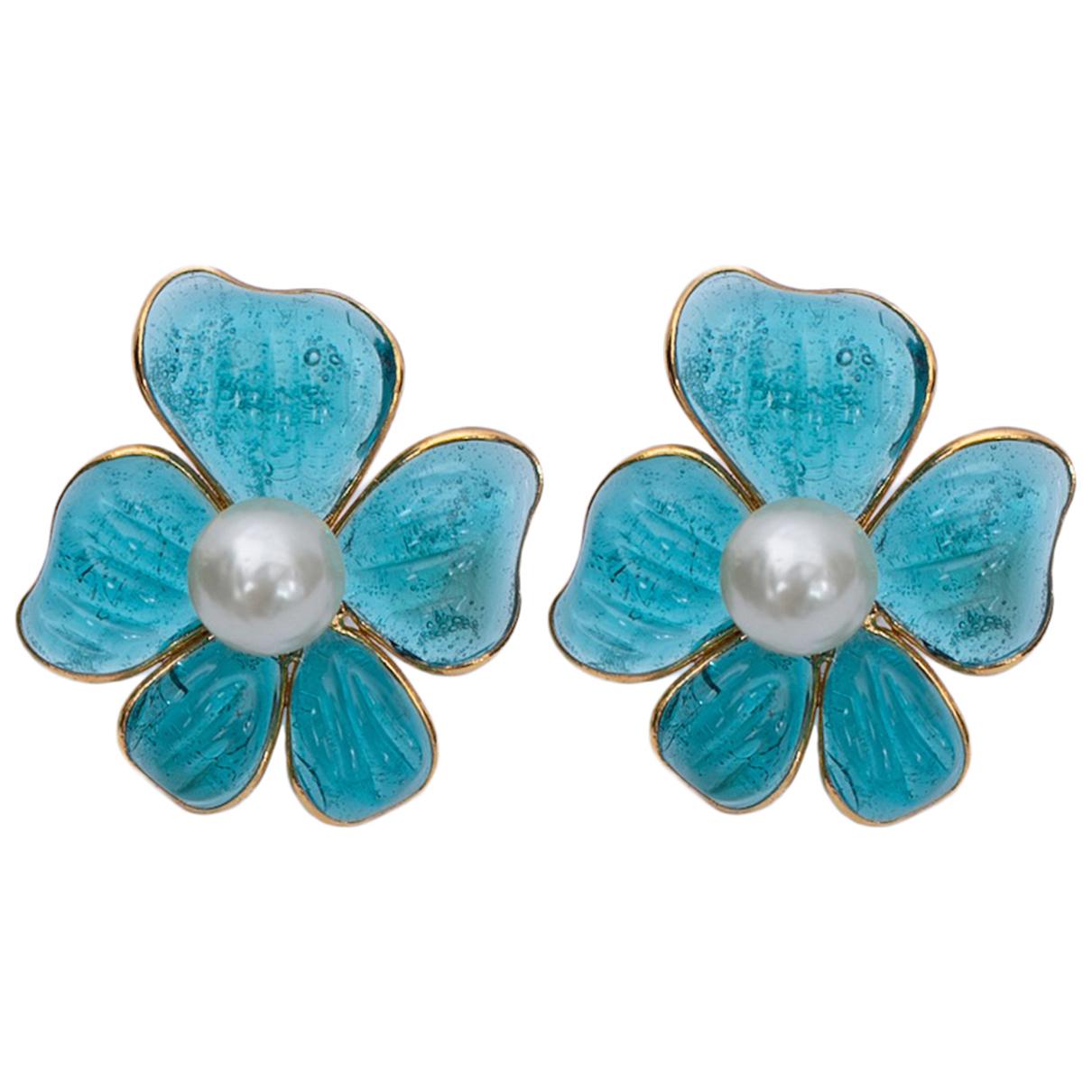 Non Signe / Unsigned Motifs Floraux OhrRing in  Blau Glas