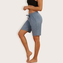 shorts deportivos con bolsillo oblicuo de cintura con cordon