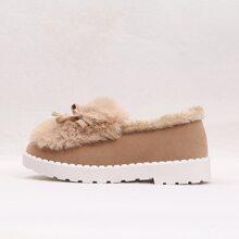 Flaumige Loafers mit Schleife Dekor