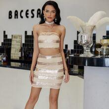 Eilly Bazar conjunto top tubo con lentejuelas de rayas con falda