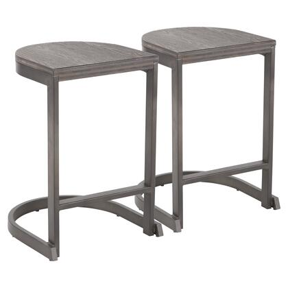 Demi Collection B24-INDEMAN+E2 Set of 2 Counter Height Stools with Metal Base  Built-In Footrest  Industrial Style and Distressed Wood-Pressed Grain