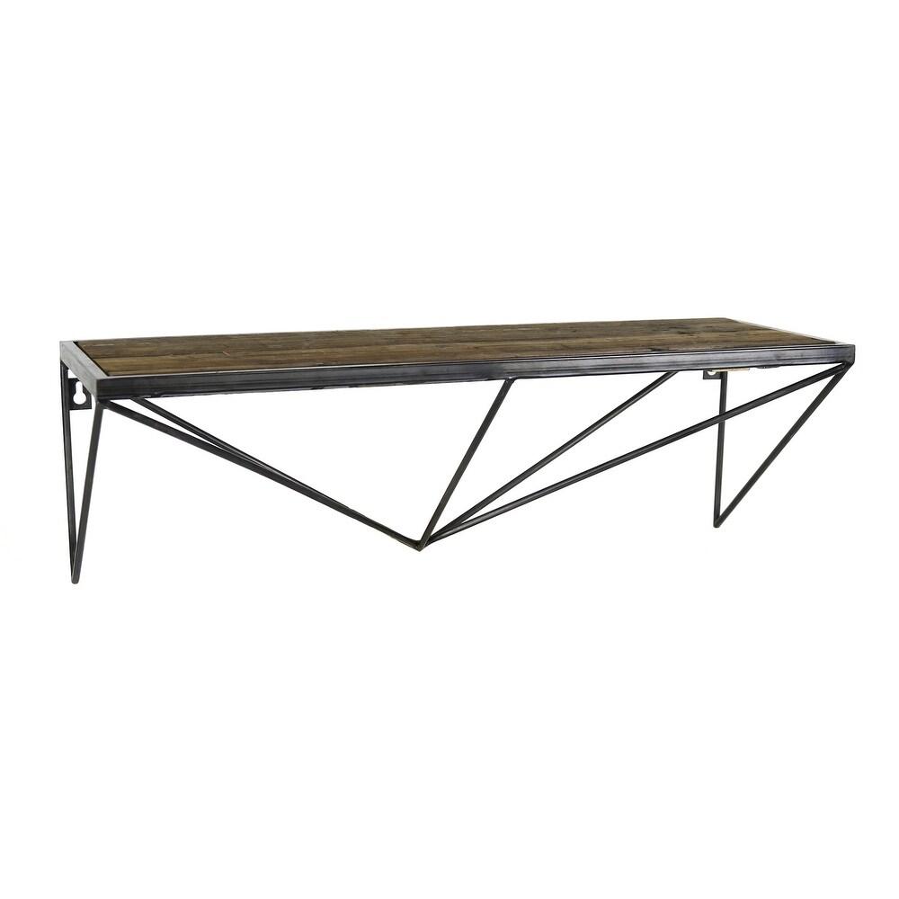 Wood and Metal Wall Shelf with Geometric Base, Black and Brown (Black)