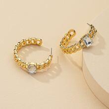Gemstone Decor Chain Design Cuff Hoop Earrings
