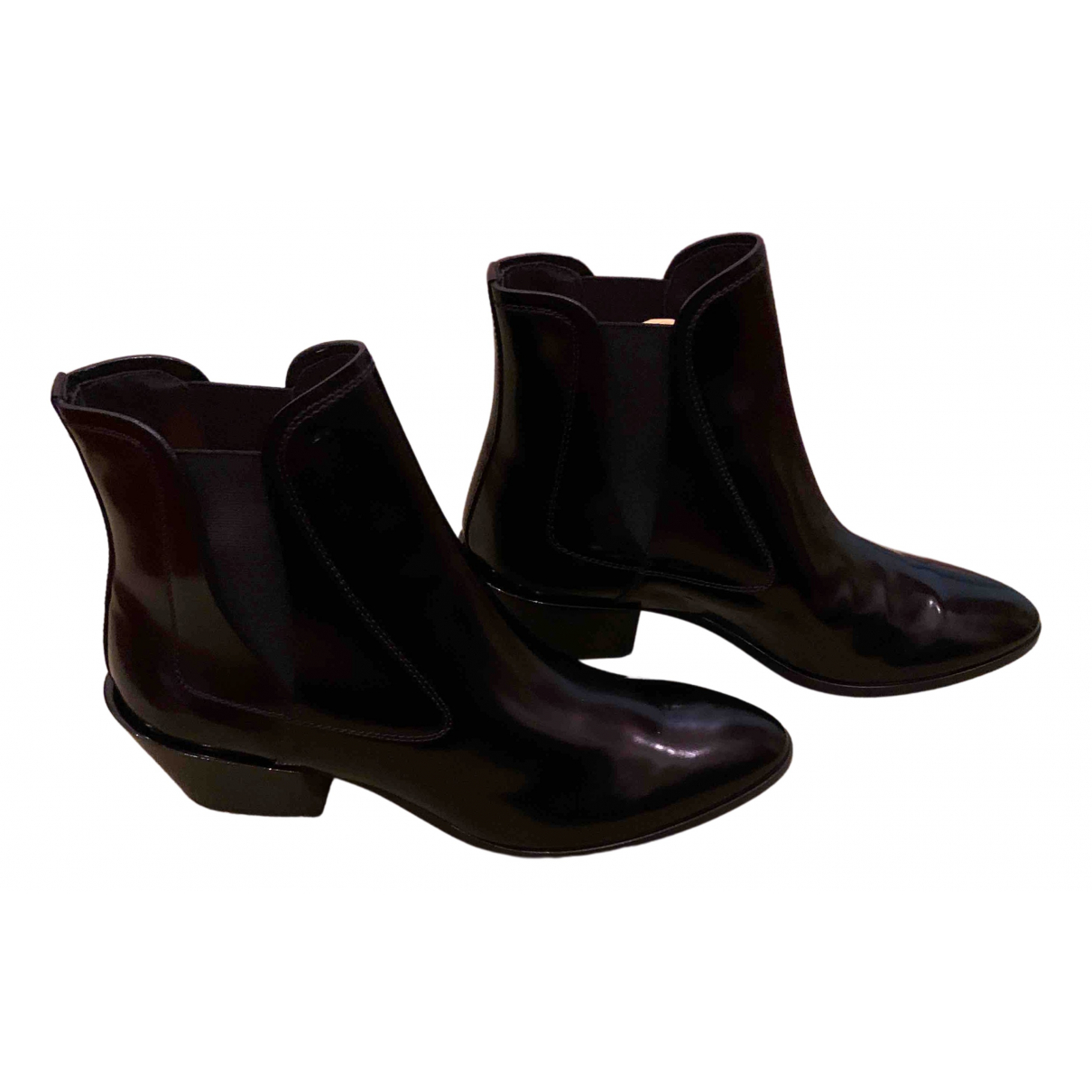 Tod's N Black Leather Ankle boots for Women 39 EU
