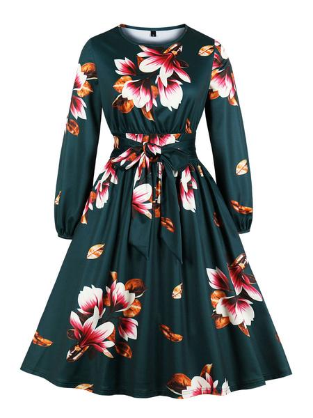 Milanoo Vintage Dress Womens Floral Print Jewel Neck Long Sleeve 1950s Rockabilly Swing Retro Dresses