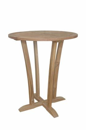 Descanso TB-3590BT 35 Round Bar Table with Kiln-Dry Process  Teak Wood Construction and Water-Base