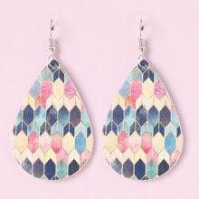 Ohrringe mit geometrischem Muster und Wassertropfen Dekor