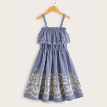 Maedchen Cami Kleid mit Streifen, Blumen Muster und Schosschensaum