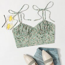 Tie Shoulder Ruched Bust Ditsy Floral Print Cami Top