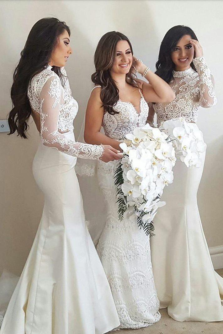Ericdress Long Sleeve High Neck Mermaid Wedding Bridesmaid Dress