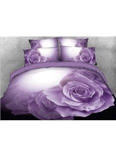 Vivilinen Dewy Purple Roses Printed 4-Piece 3D Bedding Sets/Duvet Covers