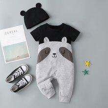 Baby Jungen T-Shirt mit Kontrast Einsatz, Karikatur Muster & Hut