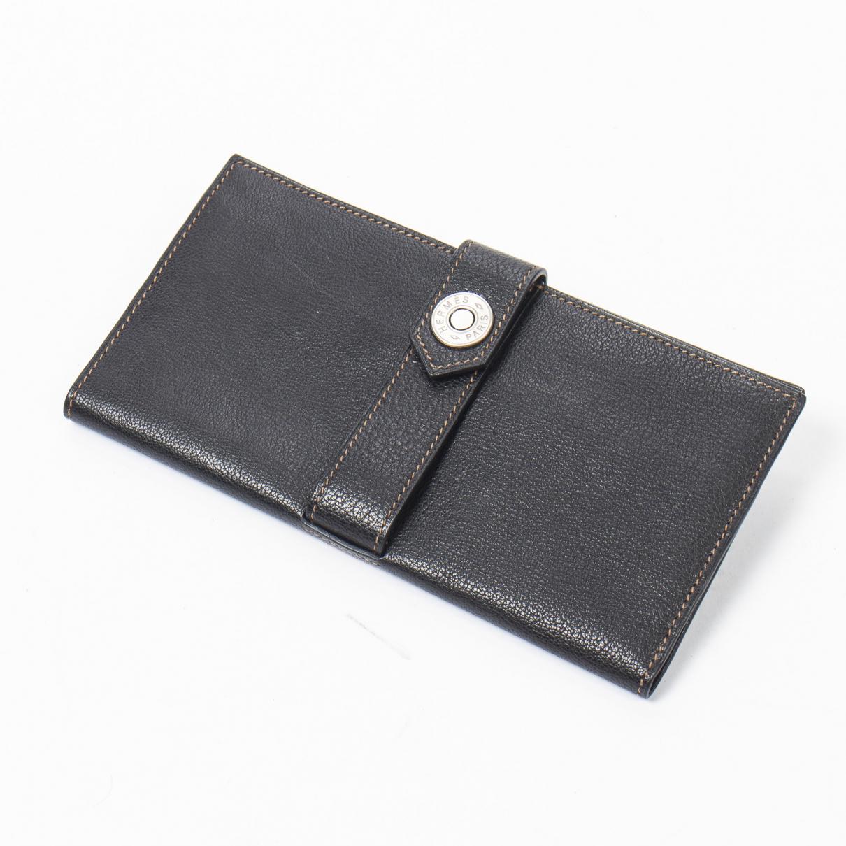 Hermes - Portefeuille   pour femme en cuir - noir