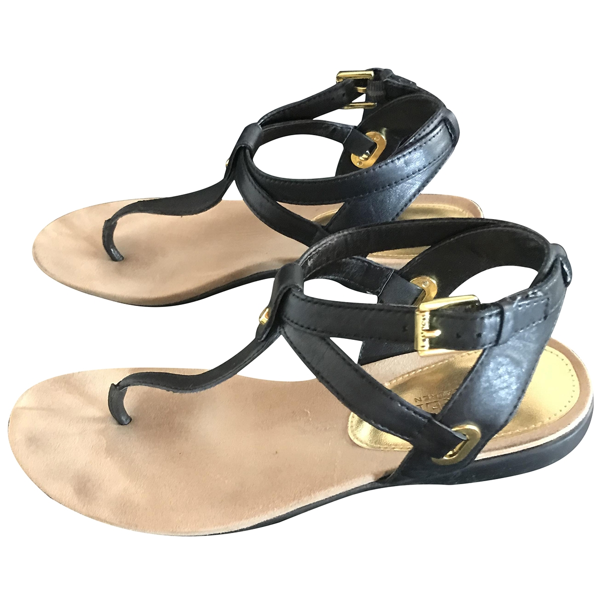 Lauren Ralph Lauren \N Black Leather Sandals for Women 38 EU