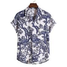 Guys Plants Print Pocket Front Shirt