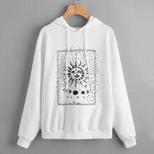 Graphic Print Drawstring Hooded Sweatshirt