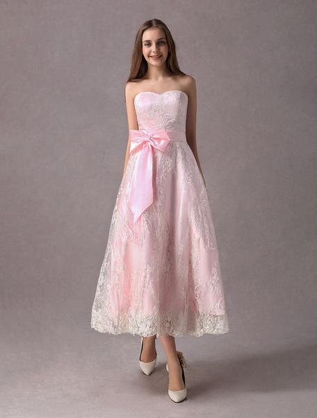Milanoo Lace Wedding Dresses Short Soft Pink Strapless Sweetheart Neckline Bow Sash Tea Length Prom Dress