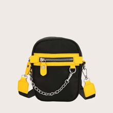 Guys Chain Decor Zip Front Crossbody Bag