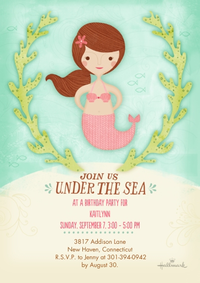 Kids Birthday Party Invites 5x7 Cards, Standard Cardstock 85lb, Card & Stationery -Under the Sea Mermaid