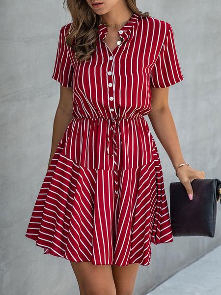 Milanoo Summer Dress Red Turndown Collar Buttons Stripes Polyester Beach Dress