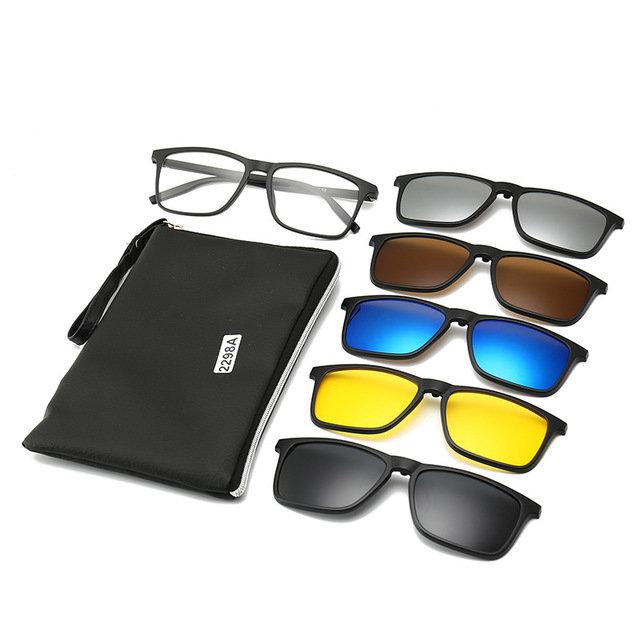 Five-piece Myopia Sunglasses Clip Polarized Sunglasses Female Large Round Face Mirror