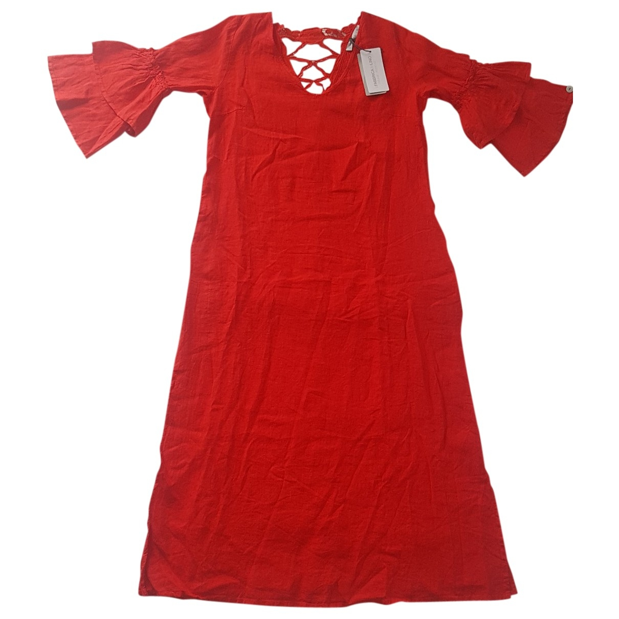 Non Signe / Unsigned \N Kleid in  Rot Leinen