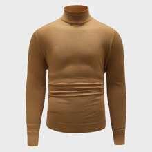 Einfarbiger Pullover mit hohem Kragen