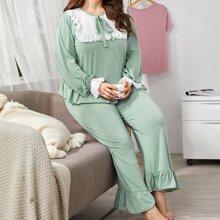 Schlafanzug Set mit Knoten vorn und Schiffy Raffungsaum