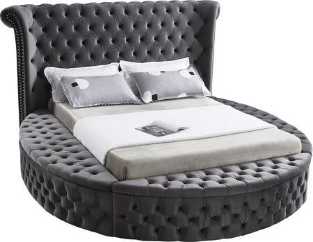 LUXUSGREY-Q Luxus Grey Velvet Queen Bed (3