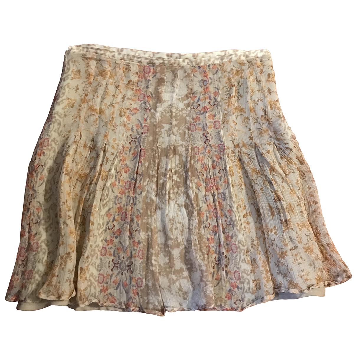 Massimo Dutti - Jupe   pour femme en soie - beige