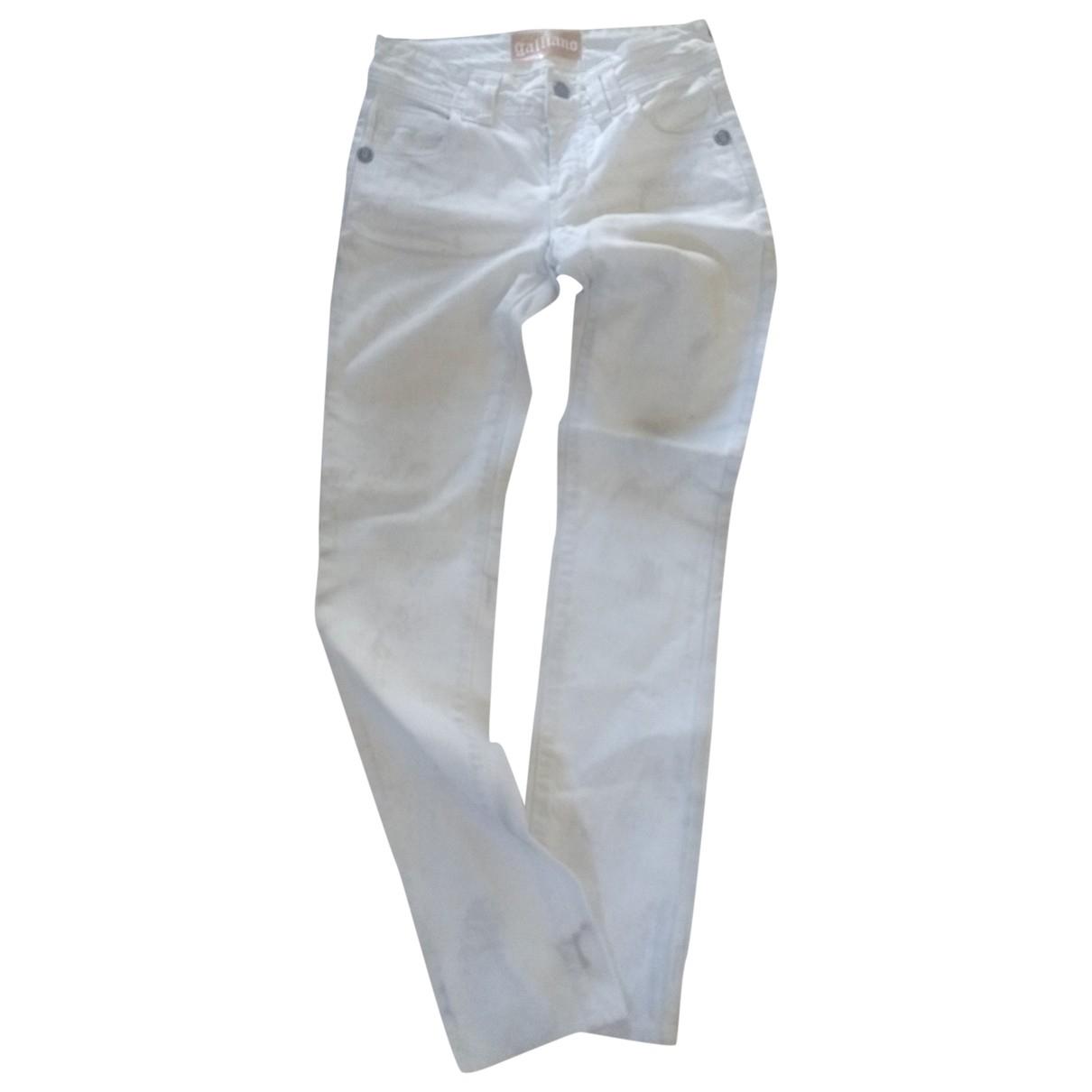 Galliano \N Ecru Cotton - elasthane Jeans for Women 24 US