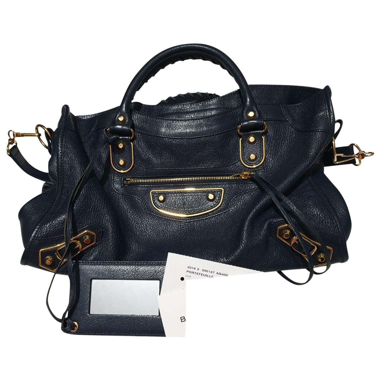 Balenciaga City Handtasche in  Marine Leder