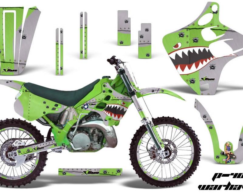 AMR Racing Graphics MX-NP-KAW-KX125-KX250-90-91-WH G Kit Decal Wrap + # Plates For Kawasaki KX125 | KX250 1990-1991 WARHAWK GREEN